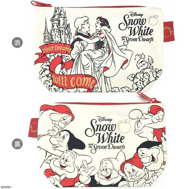 【写真を見る】映画公開80周年を迎えた「白雪姫」をデザインしたポーチ(税抜1000円)。裏面は7人の小人たちがぐるっと取り囲んでいる