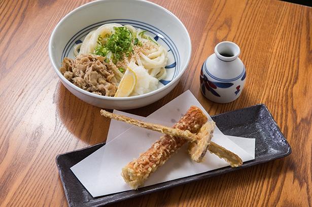 「西郷どんセット」(1150円)。かしわめし付きで、野菜とちくわで作る鞘がユニークなひと品