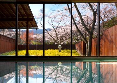 界 鬼怒川の花見風呂、または、花見露天