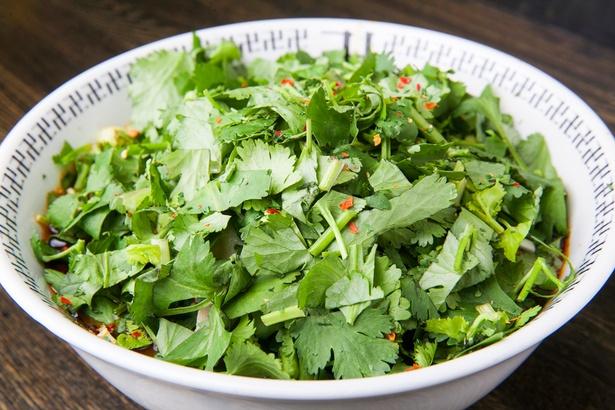パクチーの緑の山がそびえ立つ「スパイス・トリプルパクチーラー麺」