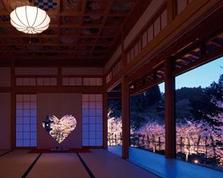 正寿院の夜桜ライトアップ。ハートの中に薄紅色の桜が映るロマンチックな光景を堪能して