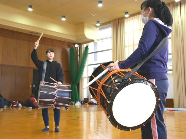 練習の様子。迫力のある和太鼓も見逃せない!