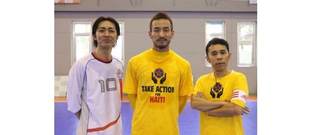 フットサル対決を行った矢部浩之、中田英寿、岡村隆史(左から)