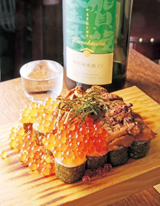「ウニとイクラのこぼれ寿司」(2700円)/大衆酒場カミヤ