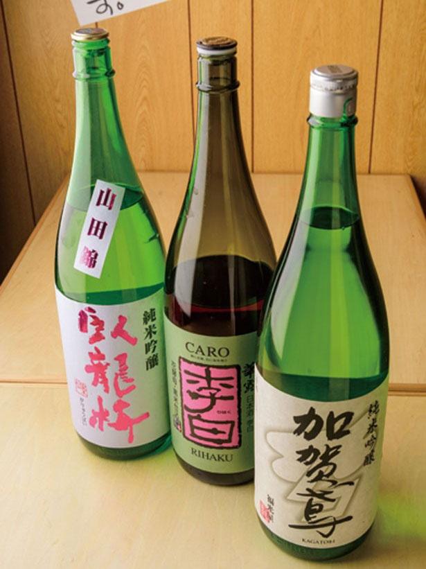 「福光屋」が作る、吟醸香と米の旨味が生きた地酒「加賀鳶 純米吟醸」(626円・右)/マル長鮮魚店