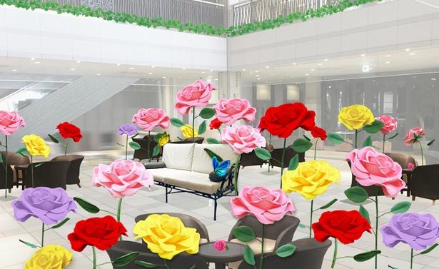 「ローズガーデン ~愛が咲く庭~」では、大きなバラのジャイアントフラワーが非日常感を演出