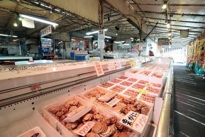 【写真を見る】鮮魚や干物、加工品がズラリと並び、市場のような雰囲気!