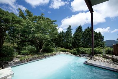 空と木々を近くに感じられる露天風呂。硫黄の香り広がるにごり湯は、疲労回復にいいとされる