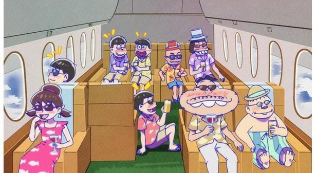 「おそ松さん 第2期」第22話の先行カットが到着。まさかの海外旅行へ!