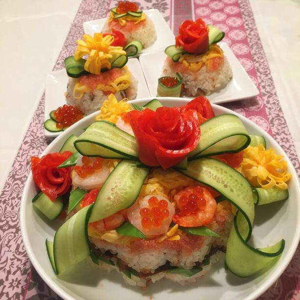 【写真】お寿司ケーキ♡ちらし寿司♡ひな祭りに♡