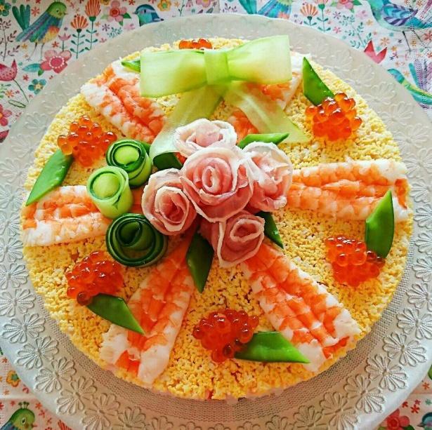 雛祭り❤お花のちらし寿司ケーキ❤