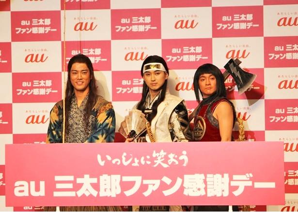 100作目の撮影を間近に控えた三太郎の3人(左から桐谷健太、松田翔太、濱田岳)
