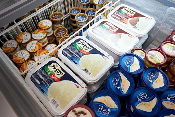アイスコーナーには大容量のアイスがずらり