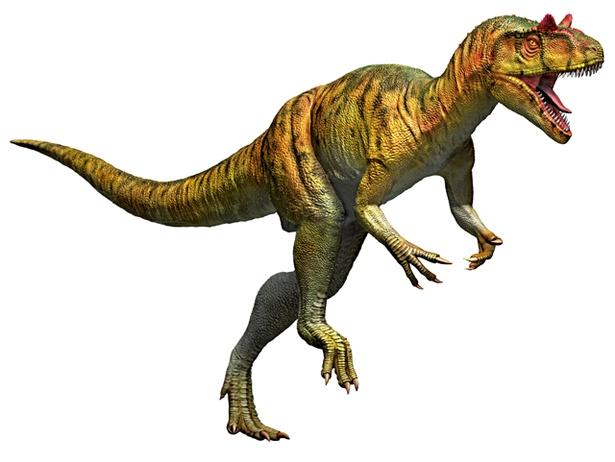 アロサウルスの復元画は迫力満点!今にも飛び出してきそう