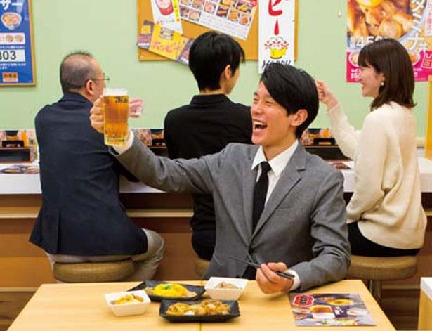 2階の席で営業する「吉呑み」/吉野家 肥後橋店