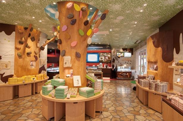 【写真を見る】チョコレートの森のような内観/モンロワール umie モザイク店