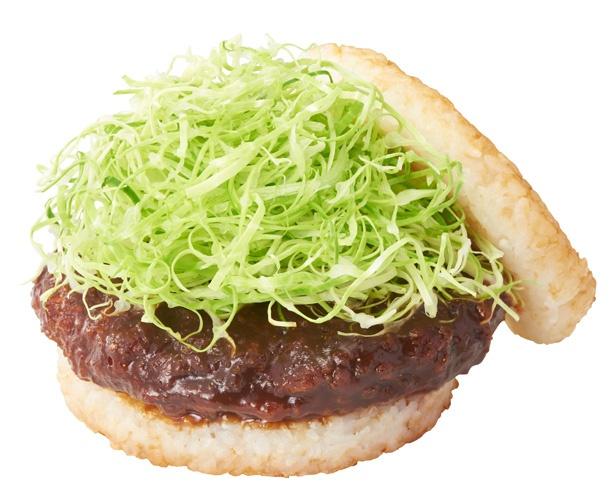 【写真を見る】まるで味噌カツ丼!?な「みそカツライスバーガー 八丁味噌使用」(410円)