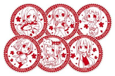 スタンプにはキャラクターと桜が描かれている