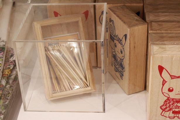 ピカチュウがデザインされた楊枝ケースの中に、こだわりの楊枝が入っている