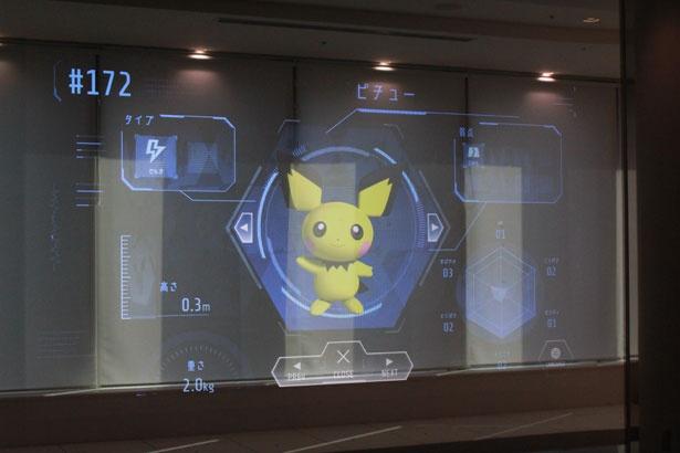 店内の壁には、タッチパネル式のポケモン図鑑が。9言語に対応している