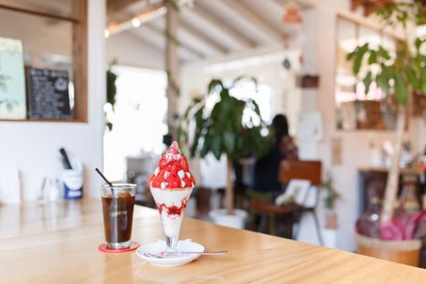 RED HOUSE CAFEの「オリジナルパフェ」(1200円)はイチゴ好きにはたまらない一品