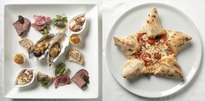 【写真を見る】「窯焼きビストロ 博多 NUKUNUKU」の「前菜盛り合わせ」(580円、写真は2人前)、「星のピザ」(1480円)。女心をくすぐるフォトジェニックなメニュー