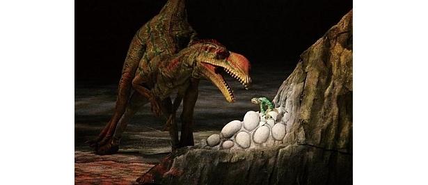 プラテオサウルスの赤ちゃんを狙うリリエンステルヌス。こんな弱肉強食なシーンも見られるかも