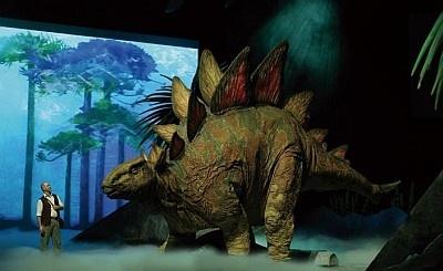 有名なステゴサウルスも。全長9メートルの大きな体は、隣に人が並ぶとさらに大きく感じる