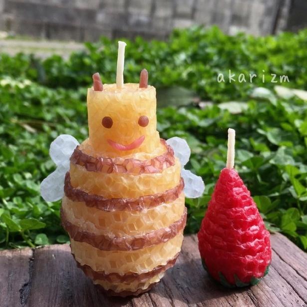 春休み!くるくるキャンドルづくり / 3月25日(日) ミツロウシートで作るいちごとみつばち