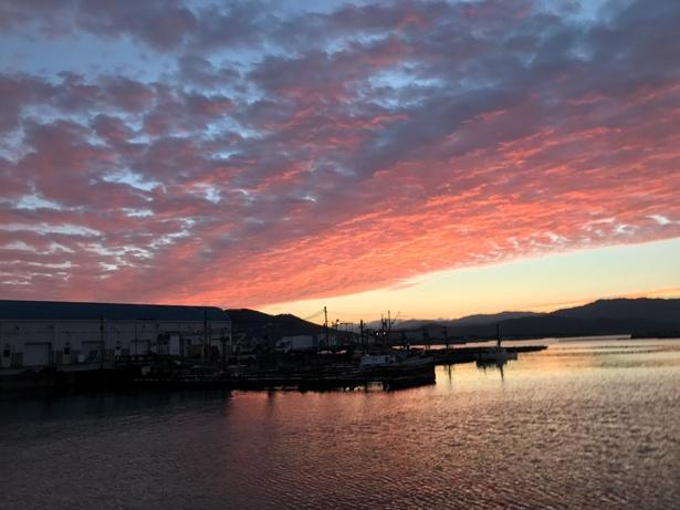 朝日に照らされた和歌の浦の美しい景色