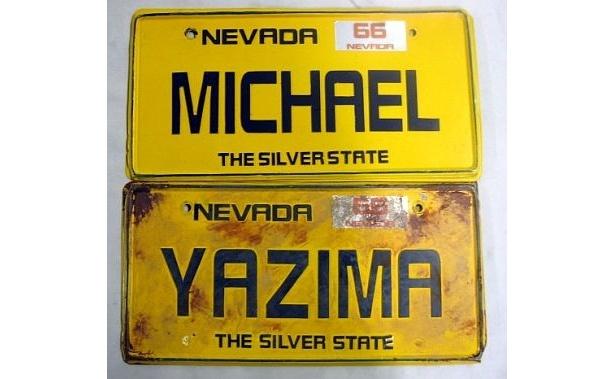 「矢島家&マイケルの車ナンバープレート」