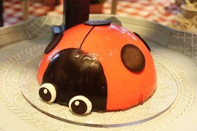 存在感大の「レディーなてんとう虫ストロベリーミラーケーキ」