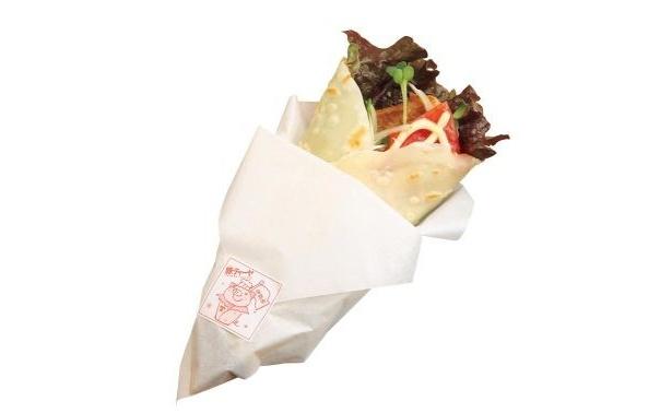 トマトソースがポイント「あまぞん館」の「いせはら豚ティーヤ」(300円)