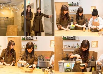 みなとみらいにある「BUKATSUDO COFFEE」へ。まずは先生に手伝ってもらいながら、順番に練習をする2人。先生のアドバイスどおり、かりんちゃんから一人でラテアートに挑戦!