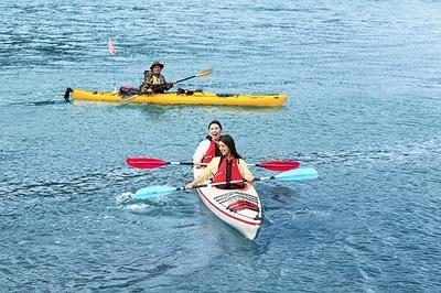 「対馬エコツアー」ではシーカヤックツアーのほか、トレッキングや無人島散策などを体験できる