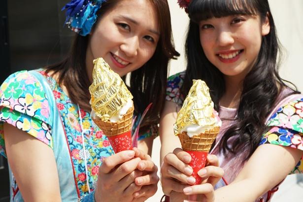 「vegetable cafe & seafood bar saien」の「金シャチソフトクリーム」(1000円)