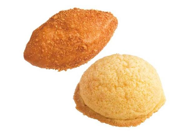 店内には焼きたてパンが並び、いい香りが漂う。「コクうまカレーパン」(180円・左)、「元気印のメロンパン」(140円・右)