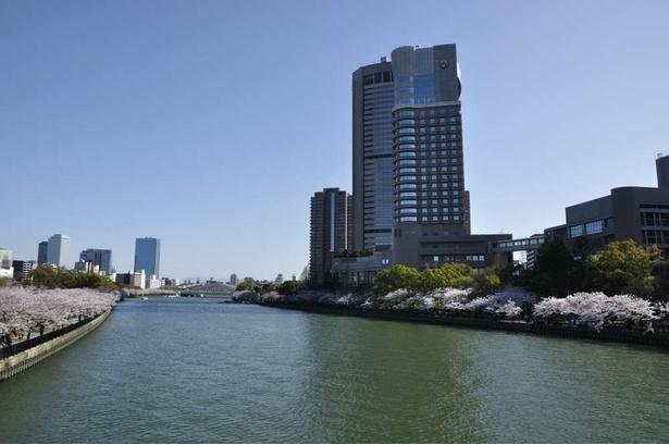 源八橋から大川を一望する。空が大きく開け、開放感のある光景。遠くに大阪城が見える