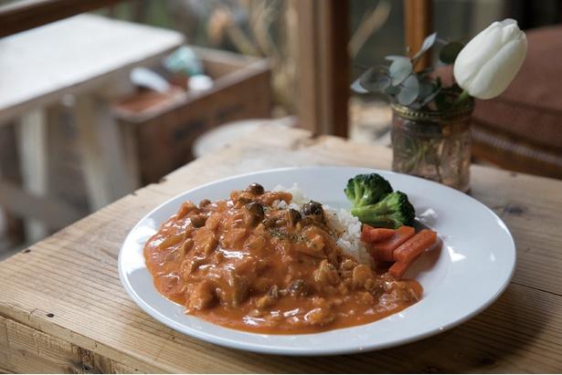 ランチの名物は「チキンストロガノフ」(700円)。一人でキッチンもまかなう戸崎さんの優しい手作りの味がくせになる