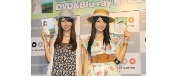DVD&&Blu-rayを発売し、トークイベントを行ったアイドリング!!!の遠藤舞と外岡えりか(写真左から)