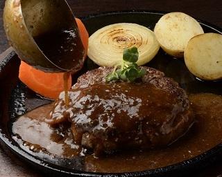 石垣牛ハンバーグ200g(ランチ1590円、ディナー1700円)。ランチにはライスと日替わりスープ付き