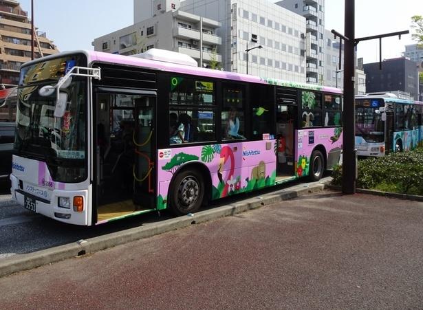 無料シャトルバス「ZOO バス」。GW中は増便して運行(4/29〜30、5/3〜6)