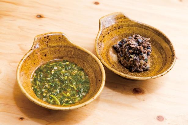 健康フードの「モロヘイヤ」(左・100円)と「黒豆納豆」(右・100円)をトッピングすれば、より朝食感がアップ!