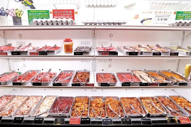 肉類はあらゆる部位を楽しめるよう、わかりやすく並べられている/Dreamオーシャン