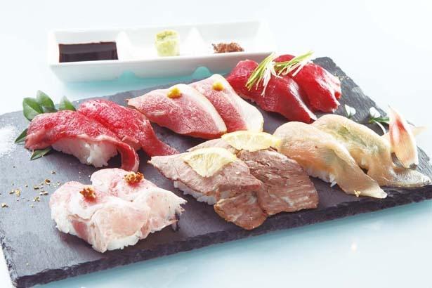 【写真を見る】キラキラ輝く肉寿司に目が釘づけ!