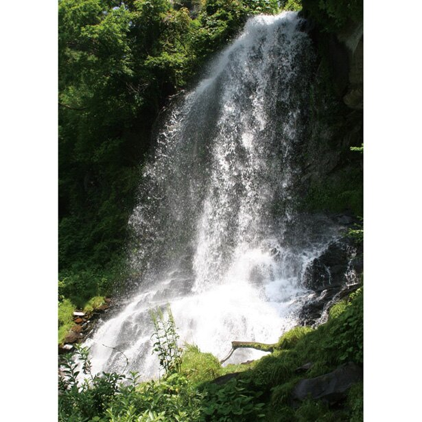 落差15mの乙女滝は霧のように上がった水しぶきが心地よい