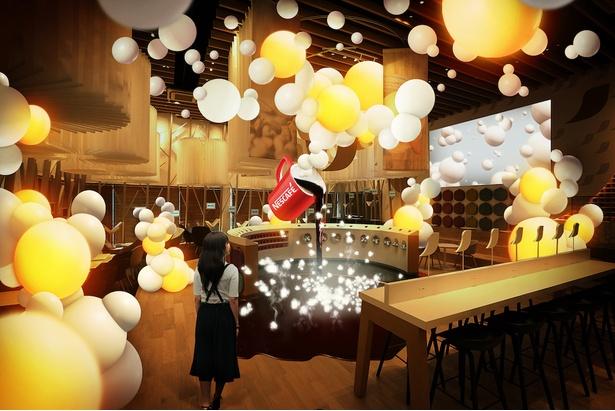 「NAKED Inc.」によって演出される泡をテーマにした非日常的な空間