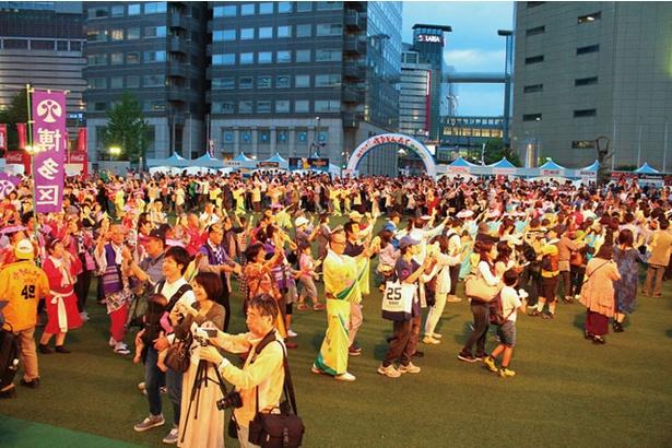 「総踊り」では、観覧客の飛び入り参加もできる