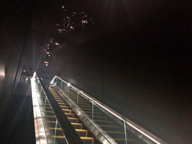エスカレーターで下って海月銀河へ/海遊館 海月銀河