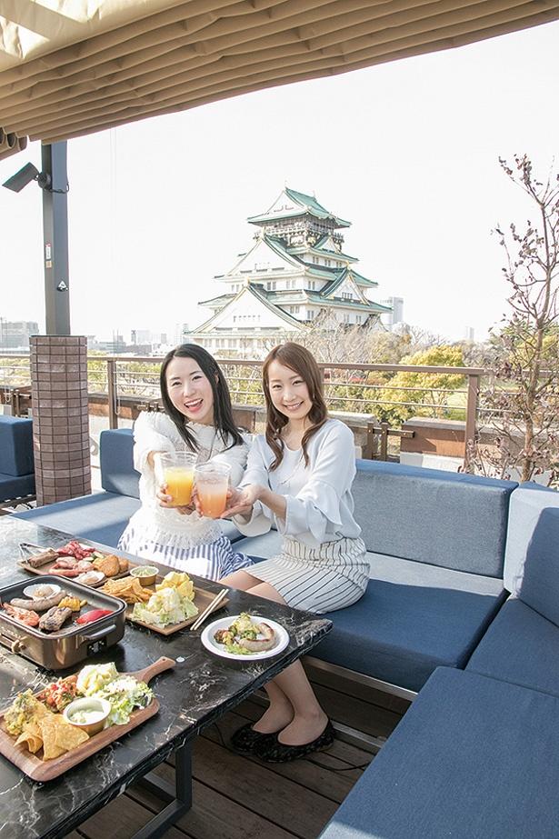 大迫力の大阪城天守閣を眺めながら楽しめる街なかBBQ!